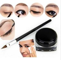Wholesale Eyeliner Gel Pro - Pro Waterproof Eye Liner Eyeliner Shadow Gel Makeup Cosmetic + Brush Black TIAU