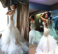 Wholesale Backless Lace V Neck - 2015 Sexy Backless Wedding Dresses Lace Appliques V Neck Luxury Pearl Beading Mermaid Wedding Dresses Tiered Ruched Tulle Sweep Train Gowns