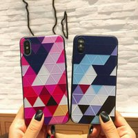 Nuovo design 3D QuiltingTPU Gel Check gomma posteriore Cover Case Skin per iPhone X 6 / 6S / 7/7 8 Plus
