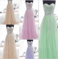 Kleid Champagner Lila Spitze Kaufen -2015 Auf Lager Beaded Prom Kleider Lace Up A-Line Liebsten Champagner Pink Grün Lila Plus Size Long Formal Party Dress