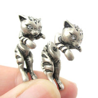 Wholesale Themed Plates - 10pcs lot 2015 New Adorable Kitty Cat Aniaml Themed Two Parts Women Stud Earring in Bronze and Anique Silver ED085