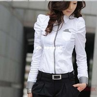 Wholesale Korean Career Shirt - Korean Style Women's Blouses Long Sleeve Slim fit Female Shirts for Office Ladies Work Career Tops Plus Size White colors J1945