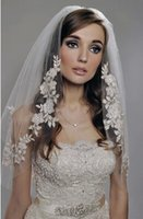 Wholesale White Wedding Vail - Wholesale-Romantic Wedding Vail Bridal Beaded Trim Veil of Bride 2015 tiara de noiva acessorios para noivas veu de noiva curto mantilha