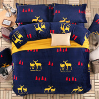 Wholesale queen flannel duvet cover - Wholesale-4pcs thicken flannel bedding sets reactive printing bed linen with duvet cover pillowcases warm bed sheet set