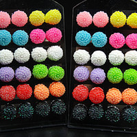 Wholesale Display Stands For Earrings - 48pcs Stainless steel Mix Color 10m Acrylic Resin Flower Stud Earrings +Display Stand for Women Mens Wholesale Lots C512