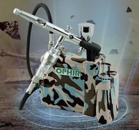 maquiagem airbrush kit pistola venda por atacado-Atacado-OPHIR Pro Airbrush Kit wth Compressor de ar Mini Airbrush dupla ação pistola para Hobby cosméticos tatuagem maquiagem Body Paint