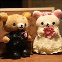 pareja muñeca oso al por mayor-Al por mayor-30cm pareja vestido de novia huaband esposa rilakkuma oso juguetes de peluche muñecas peluche oso suave para benedick nuevo casado freeshipping