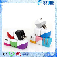 Wholesale power plug types - Mini Universal Portable Type Foldable EU US Plug USB Home AC Power Adapter Wall Charger Charging For iPhone 4S 5C 5S iPad 5