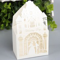 Wholesale Castle Candy - 100pcs lot Castle Hollow Out Candy Boxes Fancy Church Design Gift Case Wedding Engagement Events Sweetbox Favors wc156