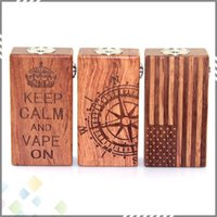 Wholesale American Flag Wood - Three Designs American Flag Wood Mod Crown Compass Flag Mechnical Mods Dual Parallel 18650 Mod Clone fit 510 Atomizer DHL Free