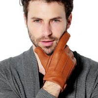 Wholesale Men S Fingerless Leather Gloves - Wholesale-Free shipping Cyrilus Men gloves Cashmere Deerskin leather winter warm driving Gloves Sheepskin gloves CYM-016