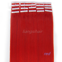 "Wholesale Red Remy Tape Extensions - Red Color 18""-22"" 20pcsx5 7A Straight Tape Skin Weft Brazilian Indian Malaysian Peruvian Wholesale Price Virgin Remy Human Hair Extensions"