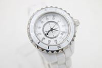 полные бриллианты оптовых-НОВЫЕ 38 мм большие полные часы Высокое качество наручные часы кварцевые DIAMOND DIAL женские керамические часы БЕЛЫЙ ободок модные женские часы