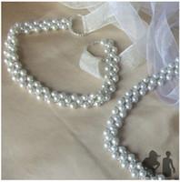 weißes perlenband großhandel-Perlen Hochzeit Bandgürtel Neue Vintage Weiß Brautkleid Strass Schärpe Perlen Perle Gürtel