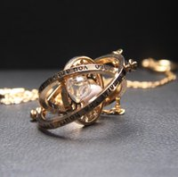 Wholesale Steel Time Jewelry - Wholesale- 1Pcs set Harry Rotatable Hourglass Necklaces Pendants Potter Granger Rotating Spins Necklace Time Turner Long Necklace Jewelry