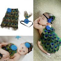 Wholesale Winter Baby Showers - Newborn baby photography props infant knit crochet costume peacock photo prop costume headband hat clothes set baby shower gift