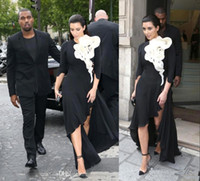 Wholesale Big Satin Skirts - 2017 Kim Kardashian Evening Dresses Long Sleeves Big Ruffles Flower Black Skirt Side Split High Low Red Carpet Celebrity Prom Gowns BO6569