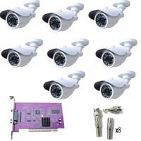 16ch hdmi cctv dvr al por mayor-8CH CCTV System 8pcs 480TVL Cámara resistente a la intemperie Kits de sistema de seguridad para el hogar NTSC