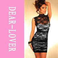 Wholesale Cheongsam Vestido - vestido de renda Black Floral Mesh Lace cheongsam Designed Sheath Dress Cheap price Free Shipping Fast Delivery LC2617 FG1511