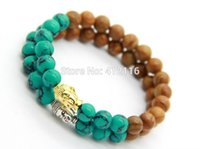 Wholesale Mens Bead Bracelets Wood - 2015 New Design Summer Bracelets Wholesale Wood Grain Stone Turquoise Beads Gold and Silver Buddha Bracelets, Mens Gift