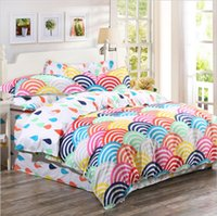 Wholesale Rainbow Sheet Set - 2015 Organic Cotton Bedding Sets 4pcs Cotton Rainbow Printed Duvet Covers and Bed Sheet Bedding Queen Size King Size