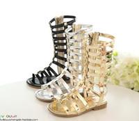botas niño mujer al por mayor-2016 niños zapatos casuales de cuero mujer niño sandalias zapatos de princesa zapatos de alta calidad recorte gladiador bebé botas