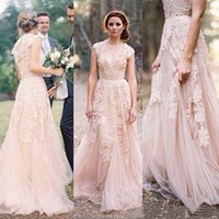 Wholesale Lace Layered Wedding Gown - Vintage 2015 Lace Wedding Dresses Champagne Sweetheart Ruffles Bridal Gown Cap Sleeve Deep V neck Layered Reem Acra Lace Bridal Gowns