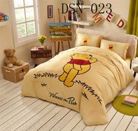 Wholesale Winnie Pooh Comforter Sets - Cartoon Happy Winnie the Pooh Full Queen King Size 100%Cotton 4pcs bedding sets Bed in a bag  sheet duvet cover pillowcase Bedding Supplies