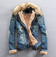 Wholesale Thick Fur Jeans - men jacket hight quality Jeans Coat Men Outwear With Fur Collar Wool Denim Jacket Thick Clothes FREE SHIPPING