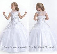 Wholesale Size 13 Cheap Dresses - Cheap Crystal Short Sleeves Girls Pageant Dresses 2016 White Flower Girl Dresses Gowns Little Girls Pageant Dresses Size Little Girls Gowns