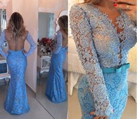 Wholesale Romantic Evening Dresses Women - Sheer Tulle Appliques Long Sleeves Evening Prom Dresses 2015 Floor Length With Beaded Sash Crew Romantic Formal Women Gowns