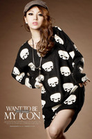 Wholesale Womens Clothing Skulls - 2015 Fashion New Style Womens Printing Skull Heads Dress Sexy Ladies Clothing Tops For Women