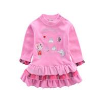 велюровые юбки оптовых-Девочка плиссированные платье велюр детские платья детская одежда милый младенческой одежда новорожденных одежда одежда ребенок материнства ребенок девочка юбки