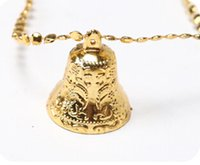 Wholesale Gold Plastic Bells - A string of decorative Christmas bells about 1.3 meter length PVC JingLing bells for christmas tree about 5cm diameter of bell