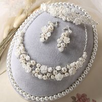 Wholesale Tiara Sets For Bride - NEW Fashion In Stock Bridal Crown Tiara Necklace Earrings Set For Bride Imitation Pearl Flower Wedding Jewelry Accessories