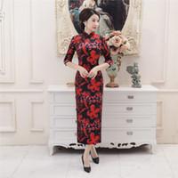 Wholesale Traditional Chinese Long Dress Velvet - Shanghai Story Velvet Qipao Chinese traditional dress 3 4 Sleeve Long cheongsam dress Chinese Oriental Dress