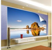 Wholesale Free Scenery Wallpapers - Papel de parede TV backdrop seaside scenery mural non-woven wallpaper customize size Free fast shipping 5198k