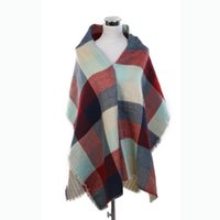 Wholesale long double sided shawl wrap - new Women's long Double side Scarf Wrap Shawl corlorful Plaid Cozy Checked Pashmina autumn and winter