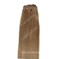 "Wholesale Ash Hair Extensions - 100% human hair extensions Straight Hair Weft Extensions grade 6A 100g 1pcs 16""-26"" 16# ash blonde Brazilian virgin human hair weave"