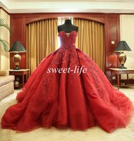 Wholesale Strapless Chapel High Neck Train - Michael Cinco Celebrity Dresses 2016 Ball Gown Wine Red Sweetheart Tulle Bead Luxury Vintage Wedding Bridal Gowns Backless Formal Prom Dress