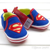Wholesale Boy Shoes Retail - Retail 1pcs baby shoes for boy girls blue S superman baby cotton toddler shoes size 2,3,4 for baby kids child first walker