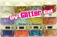 nagelgel kits farben großhandel-12 sätze / los 12 farbe 8 ml Mix Farben GLITTER RUNDEN BLÄTTER PULVER UV Builder Gel kit set für Nail art