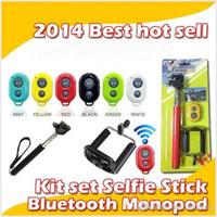 selbst-timer ausziehbares handheld-bluetooth großhandel-Universal erweiterbar Handheld Selbstporträt Einbeinstativ Selbstauslöser Foto Bluetooth Shutter Kamera Fernbedienung Combo MQ100