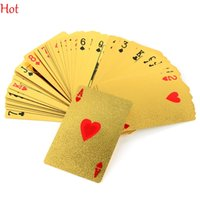 Wholesale Golden Play Cards - EUR Dollar Waterproof Plastic Playing Cards Gold Foil Poker Golden Poker Cards 24K Gold-Foil Plated Playing Cards Poker Table Games TK1352