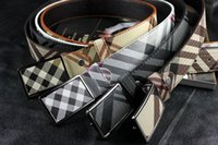 Wholesale Grids Brand New - 2016 NEW HOT Underquote Famous Brand Good Quality Genuine Leather Men's Belts Grid Smooth Buckle Cowhide Men Belts B12