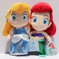 "Wholesale Cinderella Plush Doll - Cinderella & Little Mermaid Princess Stuffed Plush Doll Toy 30cm 12"" High Quality Plush Eco friednly PP conton"