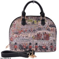 Wholesale London Tote Bag - Wholesale-2015 Fashion British Style Vintage London Print Shell Bag Women Handbag Lady Tote PU Leather Casual Women's Bags VK1389