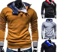 Wholesale Men Korean Sweaters - 2015 new buckle hedging hooded sweater men Korean men's fashion men's sweater coat jackt