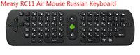 Wholesale Dropshipping Wireless Mouse - Wholesale-Original Russian Measy RC11 Air Mouse Keyboard 2.4GHz Wireless Handheld Remote Control for TV BOX PC Laptop Dropshipping