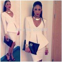Wholesale Career Dresses Sleeves - Fashion white career V neck long sleeve peplum slim hip OL dress deep V waist split work dress